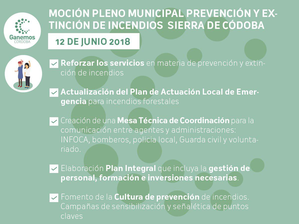 Moción sobre prevención y extinción de incendios en la sierra de Córdoba